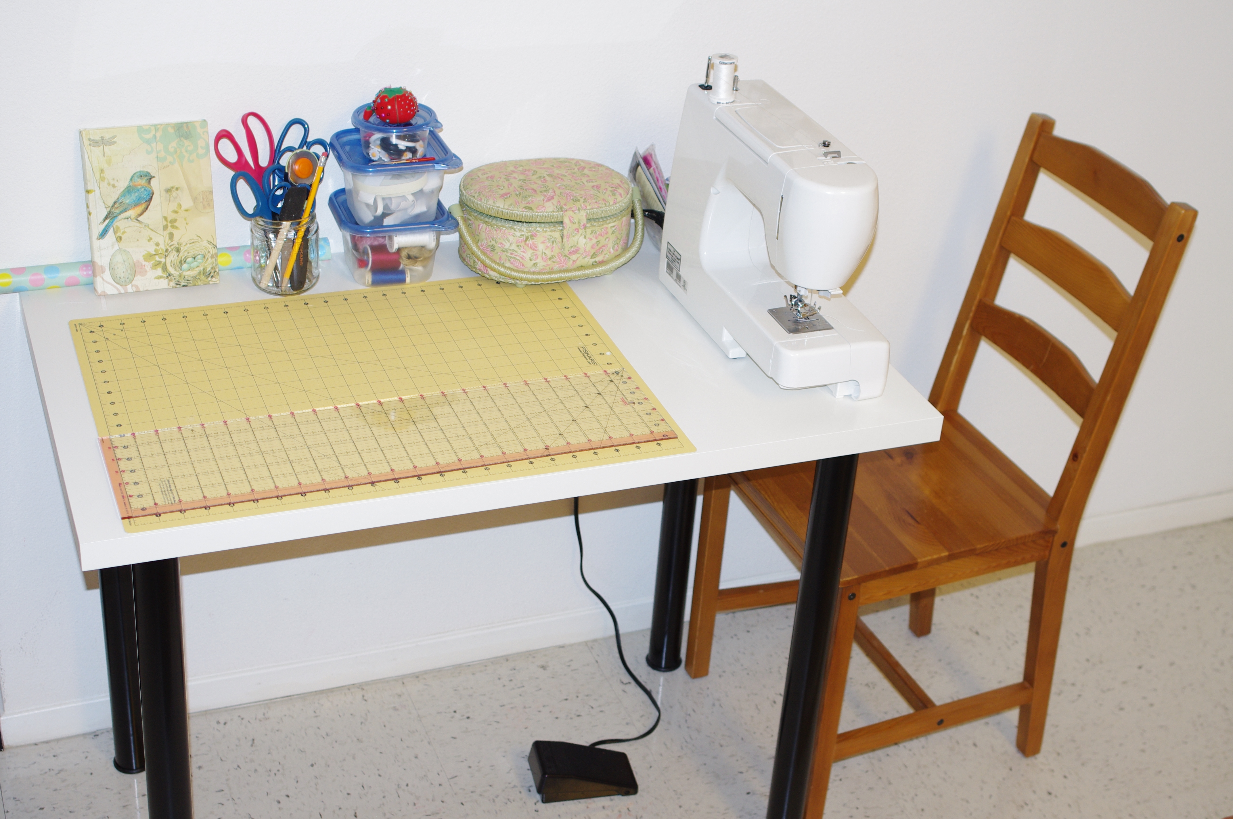 my poor husband has been putting up with all of my sewing stuff all over our kitchen table for the past few months that ive been sewing - Kitchen Table Sewing